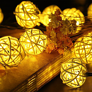cheap LED Recessed Lights-1.5m String Lights 10 LEDs Warm White RGB White Blue Creative Decorative Christmas Rattan Ball Light Night Light Wedding AA Batteries Powered 1 set