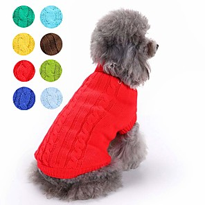 cheap Dog Clothes-Cat Dog Sweater Solid Colored Classic Keep Warm Winter Dog Clothes Yellow Red Jade Costume Cotton XS S M L