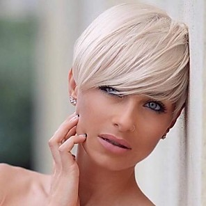 cheap Synthetic Lace Wigs-Human Hair Wig Straight Pixie Cut Short Hairstyles 2020 Straight Side Part Machine Made Women's Black#1B Silver Medium Auburn 8 inch