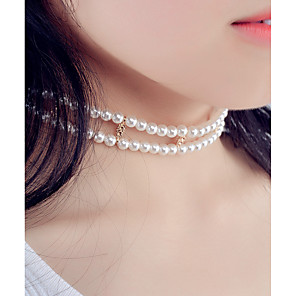 cheap Choker Necklaces-Women's Obsidian Choker Necklace Geometrical Double Ladies Personalized Fashion Euramerican Imitation Pearl Alloy White Necklace Jewelry For Party Special Occasion Daily Casual Cosplay Costumes