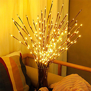 cheap LED String Lights-LED Willow Branch Lamp Staycation Battery Powered 20 Bulbs Decorative Lights Tall Vase Filler Willow Twig Lighted Branch For Home Decoration 1pc