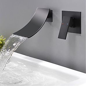 cheap Bathroom Sink Faucets-Bathroom Sink Faucet - Waterfall Black Wall Mounted Single Handle Two HolesBath Taps