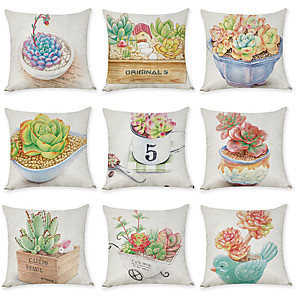 cheap Pillow Covers-9 pcs Linen Pillow Cover, Leaf Graphic Prints Pastoral Fashion Throw Pillow