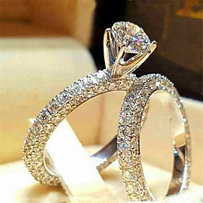 cheap Rings-Women's Ring AAA Cubic Zirconia 1pc White Silver Platinum Plated Alloy Stylish Daily Jewelry Cute