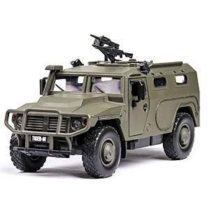 cheap Toy Trucks & Construction Vehicles-1:32 Plastic Aluminum-magnesium alloy Military Vehicle Toy Truck Construction Vehicle Glow Simulation Parent-Child Interaction Boys' Adults Kids Car Toys