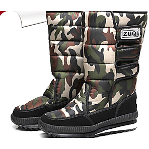 cheap Men's Boots-Men's Snow Boots PU Winter Casual Boots Warm Mid-Calf Boots Light Grey / Black / Rainbow / Outdoor