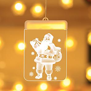 cheap LED String Lights-Holiday Light Christmas LED Fairy Lights Acrylic Warm White 3D Hanging Santa Claus Window Lighting Xmas Decoration