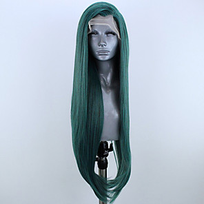 cheap Synthetic Lace Wigs-Synthetic Lace Front Wig Straight Side Part Lace Front Wig Long Green Synthetic Hair 18-26 inch Women's Adjustable Heat Resistant Party Green