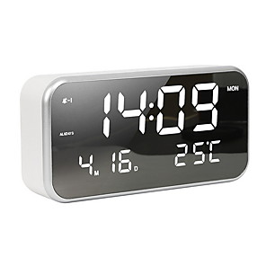 cheap Alarm Clocks-Small LED Digital Alarm Clock with Snooze, Easy to Set, Full Range Brightness Dimmer, Adjustable Alarm Volume with 5 Alarm Sounds, USB Charger, 12/24Hr, Compact Clock for Bedrooms, Bedside, Desk