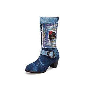 cheap Women's Boots-Women's Boots Chunky Heel Round Toe Buckle Denim Mid-Calf Boots Vintage / Preppy Spring &  Fall / Fall & Winter Light Blue / Dark Blue / Wedding / Party & Evening