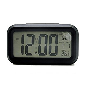 cheap Wall Clocks-Digital Alarm clock Black Plastics AA Batteries Powered Lighting Wake Up Clock