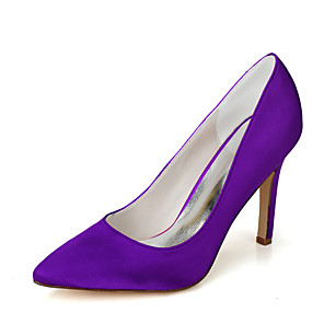 cheap Wedding Shoes-Women's Wedding Shoes Stiletto Heel Pointed Toe Satin Minimalism Fall / Spring & Summer Black / White / Purple / Party & Evening