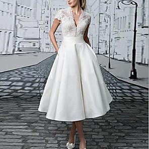cheap Wedding Veils-Women's Maxi A Line Dress - Short Sleeve Solid Colored Spring & Summer V Neck Basic Daily Wear Slim 2020 White S M L XL XXL XXXL / Lace