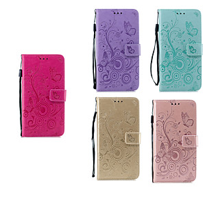 cheap iPhone Cases-Case For Apple iPhone 11 / iPhone 11 Pro / iPhone 11 Pro Max Wallet / Card Holder / with Stand Full Body Cases Butterfly / Flower PU Leather