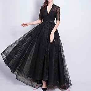 cheap Latin Dancewear-A-Line Elegant Formal Evening Dress V Neck Short Sleeve Floor Length Lace with Sash / Ribbon Beading 2020