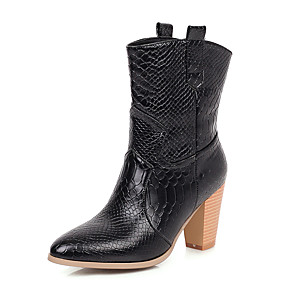 cheap Women's Boots-Women's Boots Chunky Heel Round Toe PU Fall & Winter Gold / Black / Silver