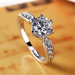 cheap Rings-High-grade crystal ladies ring genuine gold pure white pure copper plated white gold ring 2 carat zircon ring