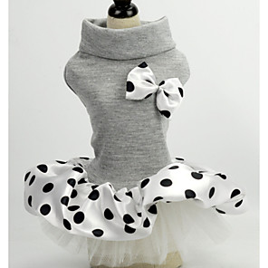 cheap Synthetic Lace Wigs-Dog Cat Pets Dress Polka Dot Bowknot Wedding Wedding Party Dog Clothes Black Gray Costume Polyster XS S M L XL