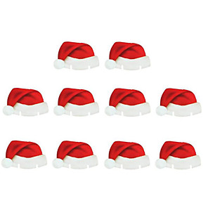 cheap Christmas Decorations-10pcs Christmas Decorations Table Place Cards Christmas Santa Hat Wine Glass