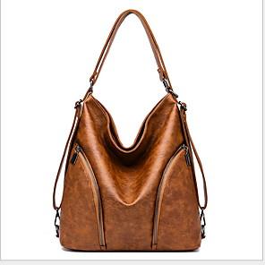 cheap Handbag & Totes-Women's Zipper Cowhide Tote Solid Color Wine / Black / Yellow