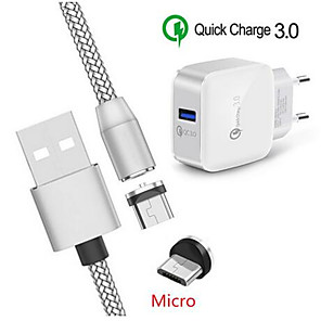 cheap Card Reader-Magnetic Micro USB Charge Cable alcatel 1s QC 3.0 Fast charger For Samsung A3 A5 2016 J3 J7 A6 A7 2018 Huawei Y5 Y7 P Smart 2019