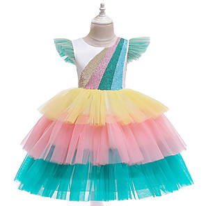 cheap Movie & TV Theme Costumes-Unicorn Dress Flower Girl Dress Girls' Movie Cosplay A-Line Slip Cosplay Pink / White Dress Halloween Carnival Masquerade Tulle Polyester