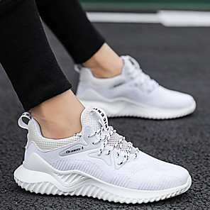 cheap Men's Sneakers-Men's Comfort Shoes Mesh Fall & Winter Athletic Shoes Running Shoes Black and White / White / Brown