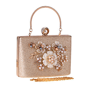 cheap Clutches & Evening Bags-Women's Pearls / Flower Polyester Evening Bag Floral Print Champagne / Silver