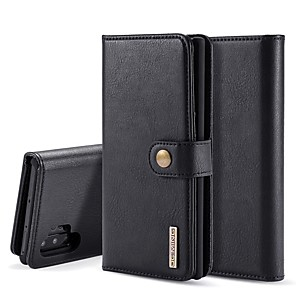 cheap Samsung Case-Case For Samsung Galaxy Note 9 / Note 8 / Galaxy Note 10 Wallet / Card Holder / with Stand Full Body Cases Solid Colored Genuine Leather