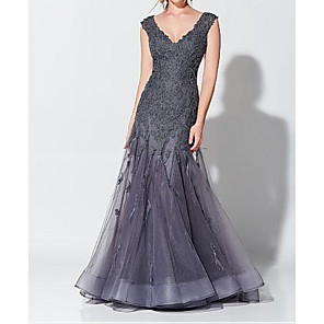 cheap Bridesmaid Dresses-Mermaid / Trumpet Elegant Grey Wedding Guest Formal Evening Dress V Neck Sleeveless Floor Length Tulle with Appliques 2020