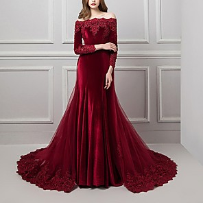 cheap Latin Dancewear-Mermaid / Trumpet Beautiful Back Red Engagement Formal Evening Dress Off Shoulder Long Sleeve Chapel Train Polyester with Overskirt Appliques 2020