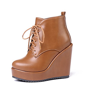 cheap Women's Boots-Women's Boots Wedge Heel Round Toe PU Booties / Ankle Boots Vintage / British Fall & Winter Black / Yellow / Beige
