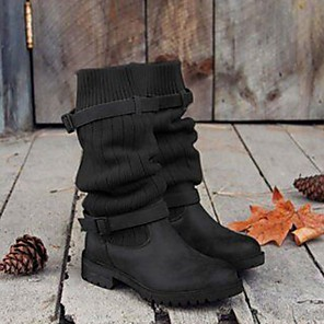 cheap Women's Boots-Women's Boots Comfort Shoes Flat Heel Round Toe PU Mid-Calf Boots Fall & Winter Black / Gray / Khaki