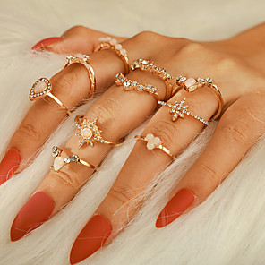 cheap Necklaces-Women's Ring Ring Set 10pcs Gold Rhinestone Alloy irregular Luxury Classic Trendy Party Gift Jewelry Vintage Style Star Crown Pear
