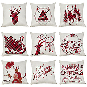 cheap Pillow Covers-9 pcs Linen Cotton / Linen Pillow Cover, Holiday Christmas Modern Christmas Throw Pillow
