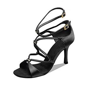 cheap Women's Boots-Women's Dance Shoes Satin Latin Shoes Rhinestone Heel Slim High Heel Customizable Black / Bronze