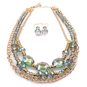 cheap Women's Boots-Women's Crystal Bridal Jewelry Sets Layered Love Statement Colorful Austria Crystal Earrings Jewelry Green For Wedding Party 1 set