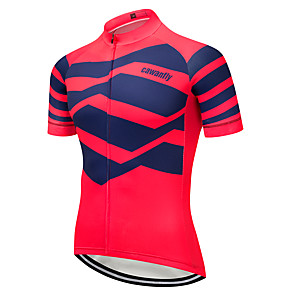 cheap Cycling Jerseys-CAWANFLY Men's Short Sleeve Cycling Jersey Red+Blue Geometic Bike Jersey Top Mountain Bike MTB Road Bike Cycling Breathable Quick Dry Back Pocket Sports Clothing Apparel / Advanced / Expert