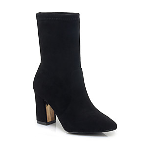 cheap Women's Boots-Women's Boots Chunky Heel Pointed Toe Suede Mid-Calf Boots Classic Spring &  Fall / Fall & Winter Black / Red / Party & Evening