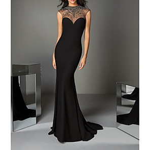 cheap Evening Dresses-Mermaid / Trumpet Luxurious Black Engagement Formal Evening Dress Illusion Neck Sleeveless Sweep / Brush Train Charmeuse with Crystals Beading 2020