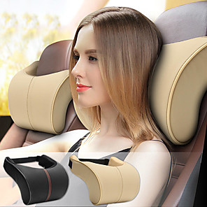 cheap Car Headrests&Waist Cushions-Car Headrests Leather Memory Foam Car Cushion Pillow Head Rest