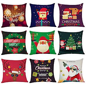 cheap Pillow Covers-9 pcs Linen Cotton / Linen Pillow Cover, Holiday Christmas Modern Christmas Throw Pillow