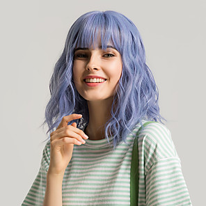 cheap Synthetic Lace Wigs-Synthetic Wig Bangs Curly Side Part Neat Bang With Bangs Wig Medium Length Purple / Blue Green Medium Brown / Light Blonde Purple Light Purple Synthetic Hair 12 inch Women's Cute Cosplay Women Blue
