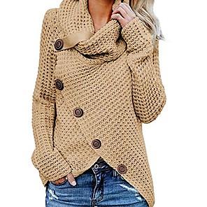 cheap Bracelets-Women's Solid Colored Long Sleeve Pullover Sweater Jumper, Turtleneck Black / Wine / Khaki S / M / L