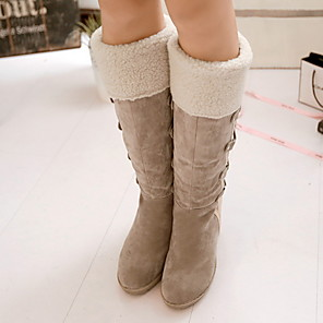 cheap Women's Boots-Women's Boots Snow Boots Wedge Heel Round Toe Suede Mid-Calf Boots Fall & Winter Black / Yellow / Beige