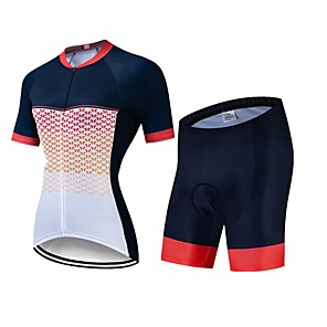 cheap Cycling Jersey & Shorts / Pants Sets-CAWANFLY Women's Short Sleeve Cycling Jersey with Shorts Black Geometic Bike Clothing Suit 3D Pad Quick Dry Winter Sports Spandex Lycra Geometic Mountain Bike MTB Road Bike Cycling Clothing Apparel
