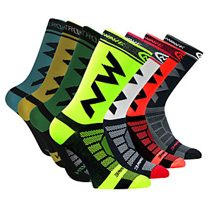 cheap Cycling Socks-Men's Cycling Socks Compression Socks Windproof Breathable Quick Dry Black Green / Yellow Black / Yellow Winter Road Bike Mountain Bike MTB Running Stretchy / Road Bike Cycling
