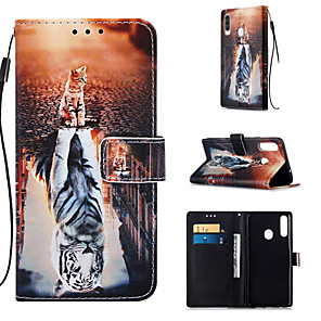 cheap Samsung Case-Case For Samsung Galaxy Galaxy A7(2018) / Galaxy A10(2019) / Galaxy A30(2019) Wallet / Card Holder / with Stand Full Body Cases Cat PU Leather