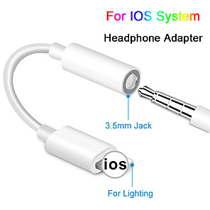 cheap Audio Cables-Headphone Jack Cable IOS 12 11 Headphone Adapter for iPhone XSMAX XR XS X 8 7 Female To 3.5mm Male Adapters AUX Adapter For iPhone