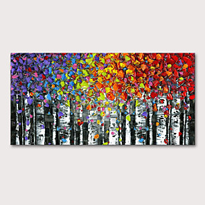 cheap Still Life Paintings-Oil Painting Hand Painted - Floral / Botanical Abstract Landscape Modern Stretched Canvas